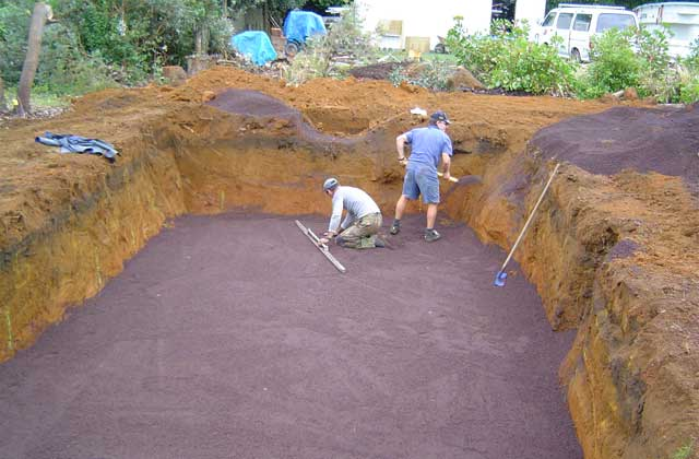 digging cavity for swimming pool